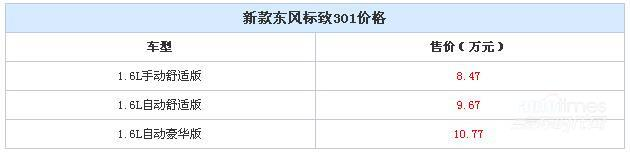 新款东风标致301上市 售8.47-10.77万元