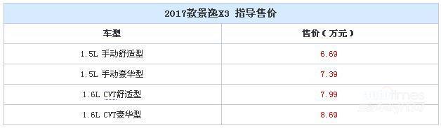 2017款景逸X3正式上市 售6.69-8.69万元