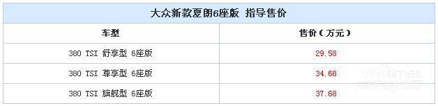 夏朗6座版正式上市 售29.58-37.68万元