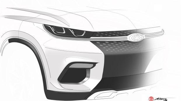 奇瑞m31t手绘图 法兰克福车展全球首发
