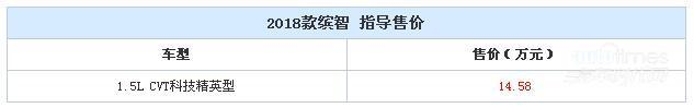 2018款缤智新增车型上市 售价14.58万元
