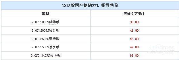 2018款捷豹XFL上市 售38.8-68.8万元