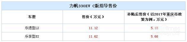 力帆330EV C版售价公布 售11.12-11.62万元