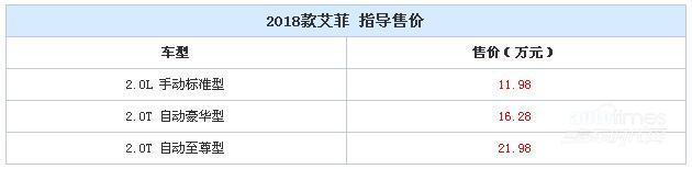2018款艾菲正式上市 售11.98-21.98万元