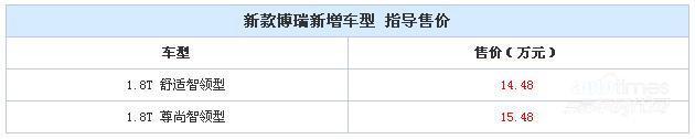 新款博瑞新增两款车型 售14.48-15.48万