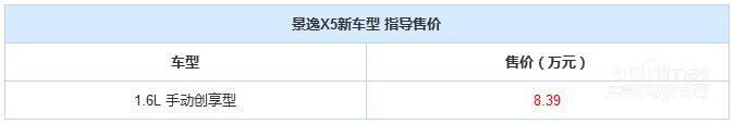 景逸X5 1.6L手动创享型上市 售8.39万元
