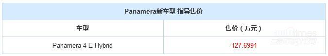 Panamera 4 E-Hybrid上市 售127.6991万