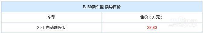 北京汽车BJ80珠峰版上市 售价39.80万元