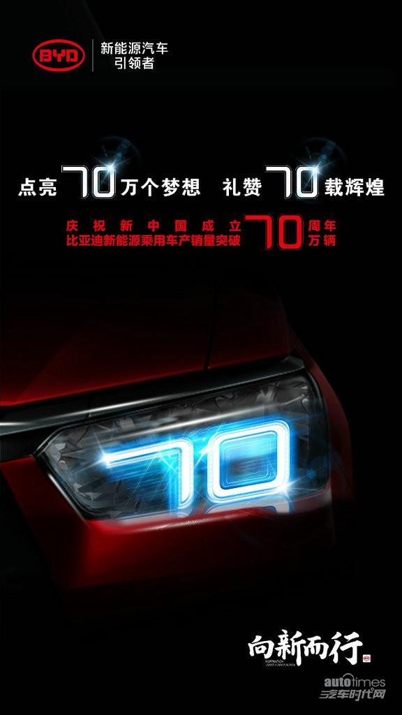 比亚迪新能源乘用车产销突破70万辆,献礼新中国成立70周年